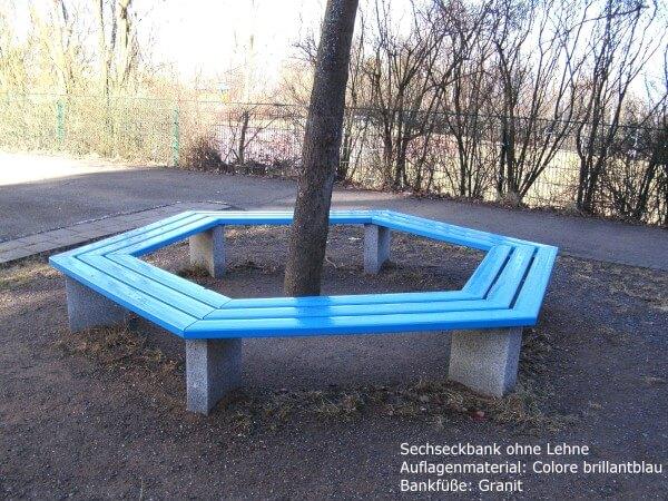 Sechseckbank-Colore-brillantblau